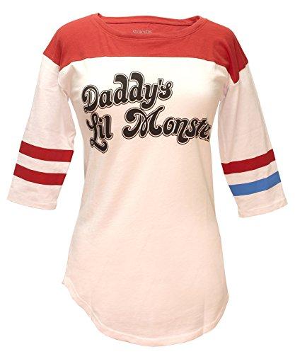 Bioworld Suicide Squad Harley Quinn Daddy's Lil Monster Raglan T-Shirt (Medium) White