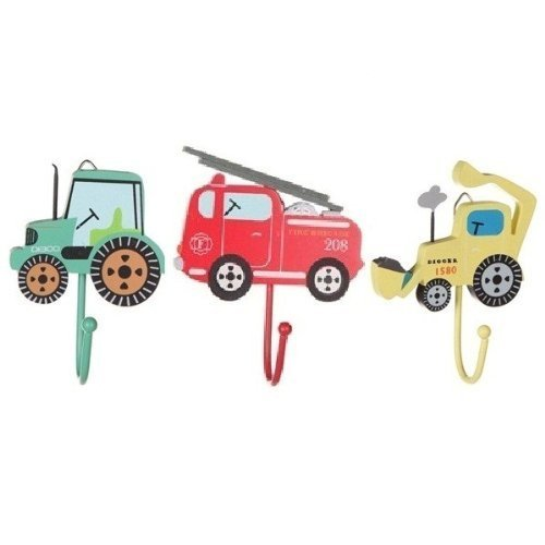 Childrens Set of 3 Boys Vehicle Coat Hooks