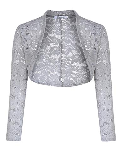 KOJOOIN Damen Bolero Spitzen Jacke Festlich Kurz Cardigan Langarm Strickjacke Für Hochzeit Cocktailkleid(Verpackung MEHRWEG)