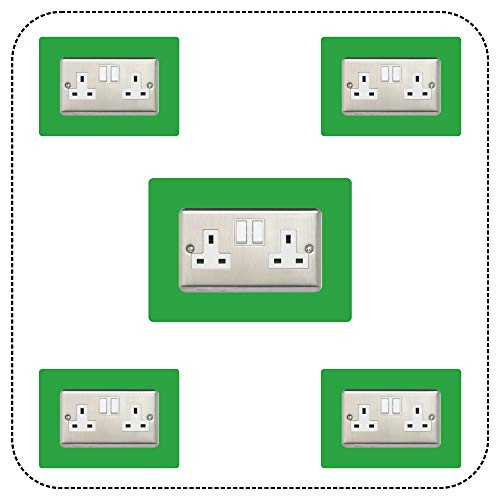 ewolds 5x Double Socket Surround, Acrylic Back Panel or Plate, Protect Wall from Finger Prints, font colour:light green