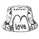 Xian Shiy Gorra de Pescador Unisex, Boceto de Pareja con un corazón Gigante Resumen Personajes Lindos pequeños Amantes, Sombrero de Playa de Viaje