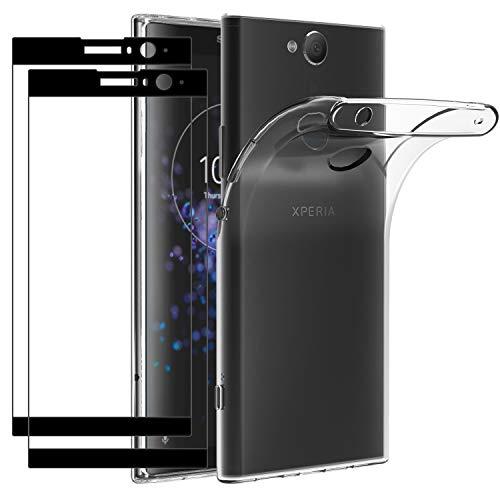ivoler Hülle für Sony Xperia XA2 Plus + 2 Panzerglas [Volle Bedeckung], Durchsichtig Hülle Transparent Silikon TPU Handyhülle Schutzhülle Premium 9H Hartglas Schutzfolie Glas für Sony XA2 Plus