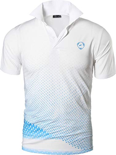 jeansian Herren Summer Sportswear Wicking Breathable Short Sleeve Quick Dry Polo T-Shirts Tops LSL195 WhiteBlue XL