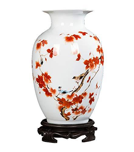 Black Temptation Chinesische weiße Keramik Vase Kunst Home dekorative Vase, Vögel und Blumen