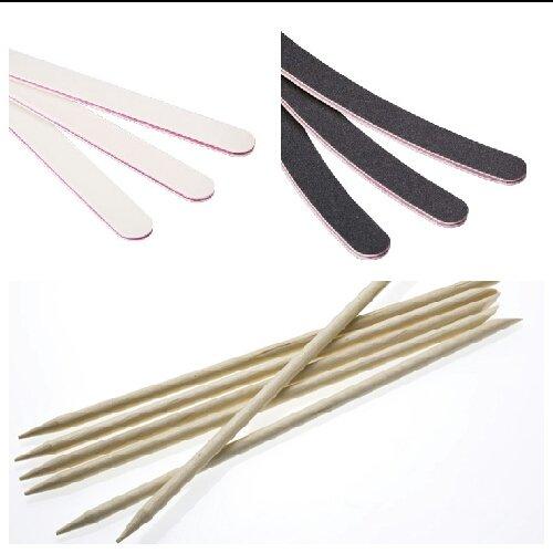 New Nail Art Lot de 11 limes à ongles avec bâtonnets en bois de rose, accessoires pour manucure et pédicure