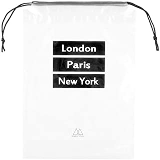 PVC Shoe Bag Clear Organizer Dust Resistant Shoe Cover with Drawstring for Travel and Carrying 5pcs English Words Black Background