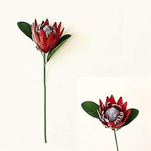 """REXI King Protea Silk Artificial Flowers Bouquet for Wedding Bouquet Flower Arrangements Home Decor, Faux Emperor Flowers, 15.74""""(red)"""