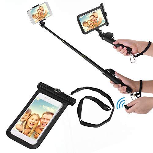 Zwbfu Funda Impermeable para Bolsa de teléfono Celular con Bolsa Seca y Stick Selfie Extensible con cordón de Control Remoto BT para Viajes de Buceo de natación en la Playa Compatible con X/XS /