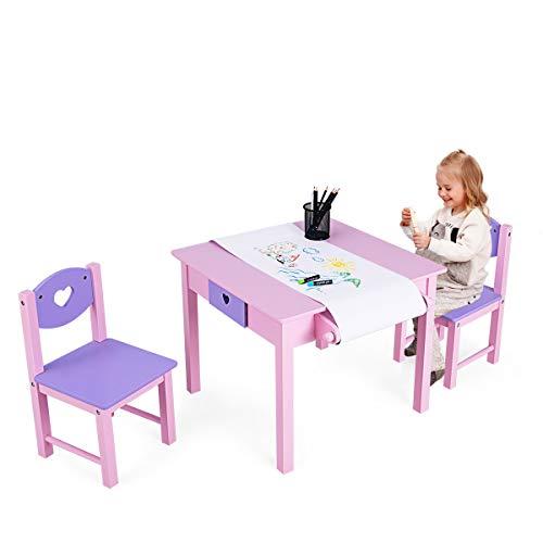 DREAMADE Kindersitzgruppe 3 TLG, Kinderschreibtischstuhl aus Holz, Kindermöbel Kinderstuhl & Tisch Kindersitz Set, Kindertisch mit Schublade, Rosa und Lila