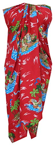 ALVISH Sarong 49 Reindeer Santa Beach Swimsuit Wrap One Size Pareo Red