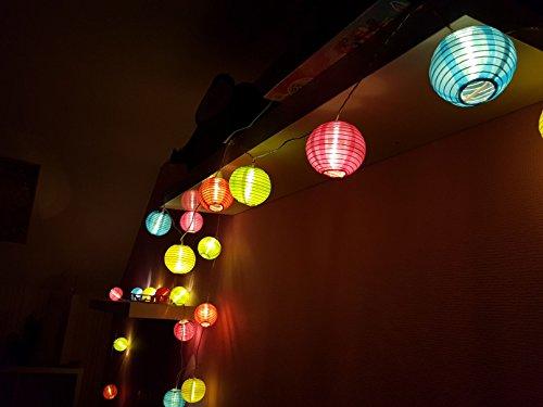 Party Lichterkette mit 20 LED Lampions in bunt - Innen & Außen - 20 LED in warmweiß - Lieferung inkl. Netzteil