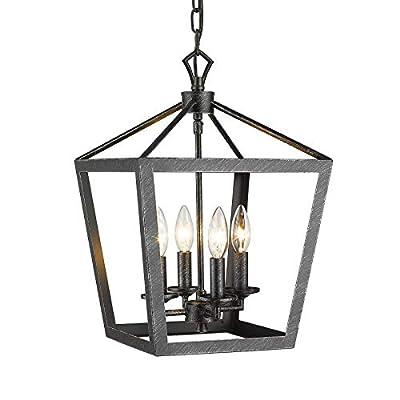 EAPUDUN Industrial 4-Light Chandelier Ceiling Light Fixture, Black&Silver Hand-Brush Metal Lantern Pendant Lighting for Hallway, Entryway and Dinning Room, PDA1271-FBGT