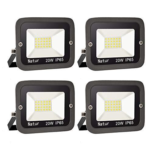 4er 20W LED Strahler Außen Superhell LED Fluter LED Scheiwerfer IP65 Wasserdicht LED Flutlicht Außenstrahler Außenleuchte für Werkstatt Garage Garten(Kühles Weiß,150W)