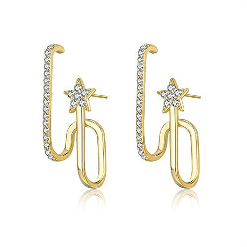 XAOQW Pendientes de Color Oro Estrella Brillante de Plata esterlina 925 para Mujeres de una Sola Fila Cristal zircón Stud Pendiente joyería Fina Regalo