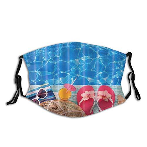 JISMUCI Gesichtsbedeckung,Sommerferien Cool Blue Pool Wasser Pink Flip Flops und Muschel,Sturmhaube Unisex Wiederverwendbar Winddicht Staubschutz Mund Bandanas Outdoor Camping Motorrad Mit 2 Filtern