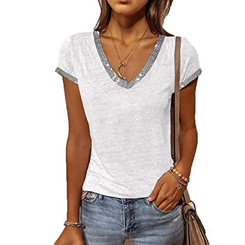 SLYZ Moda para Mujer 2021 Verano Color Puro Talla Grande Cuello En V Manga Corta Delgada S 5XL Camiseta