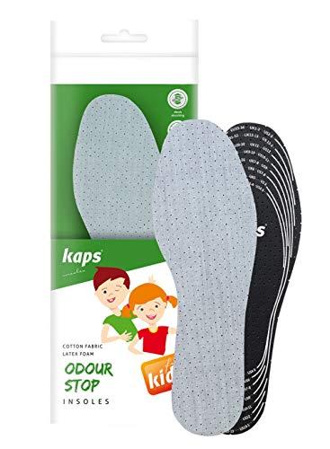 Kaps Einlegesohlen für Kinder gegen Fußgeruch – Schuheinlagen mit geruchshemmender Technologie und atmungsaktivem Schaum – Einlagen für Schuhe zum bequemen und passgenauen zuschneiden