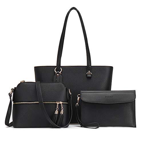 Handbags for Women, JOSEKO Fashion Tote Shoulder bags Crossbody Bags Top Handle Satchel Hobo 3pcs Purse Set Black