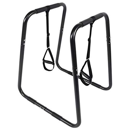 GORILLA SPORTS® Dip Barren mit rutschfesten Extra-Griffe 83 x 69 x 95 cm – Push Up Stand Bar aus Stahl mit Schlaufen bis 150 kg belastbar