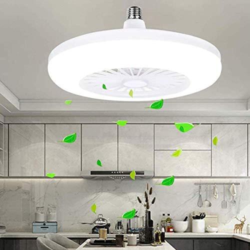 HSLY Ventilador De Techo Con Iluminación E27, 24W Candelabros De Techo Modernos, Luz De Techo LED Modernos, Ventilador De Techo Silencioso Para Cocina, Dormitorio, Pasillo