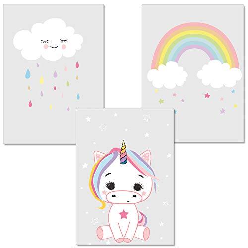 artpin® 3er-Set Einhorn Bilder Kinderzimmer - Regenbogen Wolke Kuscheltier Deko Babyzimmer - Für Mädchen P7