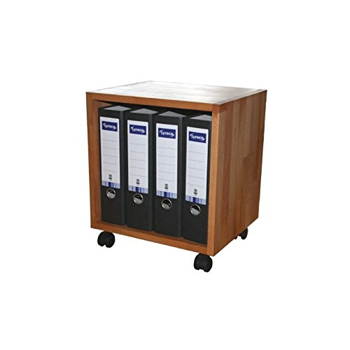 Rollbarer Regalwürfel aus Buche Massivholz, Beistelltisch, Ablagetisch, Tisch für Drucker