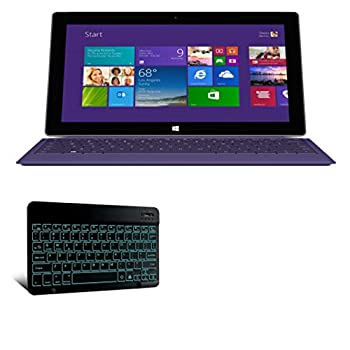Microsoft Surface 2 Keyboard BoxWave [SlimKeys Bluetooth Keyboard - with Backlight] Portable Keyboard w/Convenient Back Light for Microsoft Surface 2 - Jet Black