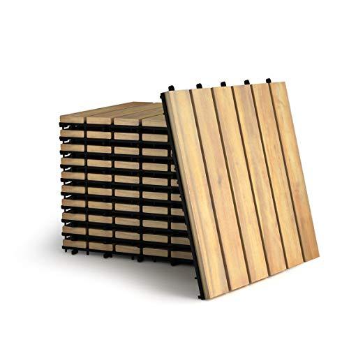 COSTWAY 10er Set 30x30cm Terrassenfliesen Holz, Bodenfliesen Akazienholz, Holzfliesen Bodenbelag, Klickfliesen Braun (6 Latten)