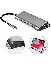 usb cハブ 7in1 usb type c hdmi変換アダプター usb-c lan ハブ タイプC ハブ ドッキングステーション ipad pro2018/Surface Book 2/MacBook/MacBook Proに対応