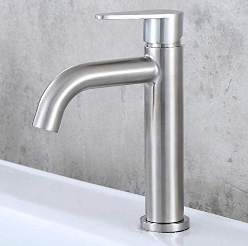 ZGQA-GQA 360 grados, rotación304 Grifo de lavabo de acero inoxidable con un solo agujero, un solo mango,chapado en cromo, cepillado para grifo mezclador fregadero, baño cocina lavabo