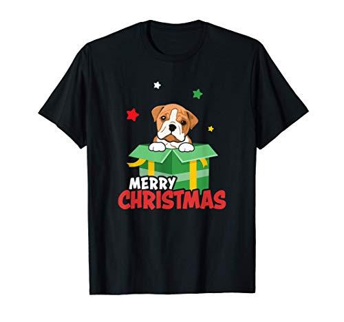 Lindo Bulldog Inglés Feliz Navidad Amante de los perros Camiseta