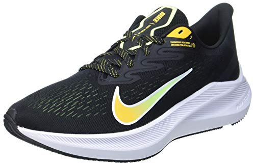 NIKE Zoom Winflo 7, Running Shoe Hombre, Black University Gold Volt Glow White, 45.5 EU