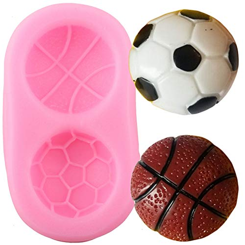 Ainkou Soccer Basketball Silicone Mold Chocolate Candy Clay Molds DIY Baby Birthday Cupcake Topper Fondant Cake Decorating Tools