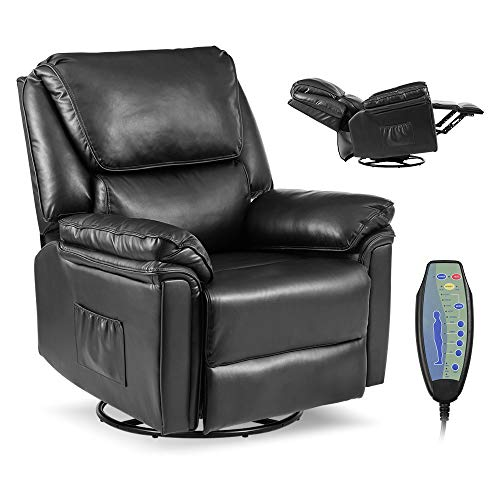 Massage Recliner Chair with Lumbar Heating, Ergonomic Rocker Lounge Chair, Reclining Sofa for Living Room, 360 Degree Swivel, Side Pocket & Remote Control. (Pu Leather - Black)