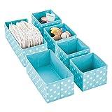 mDesign 6er-Set Aufbewahrungsboxen für Kinderzimmer, Bad usw. – Kinderzimmer Aufbewahrungsbox mit Punkte-Muster – 6 Kinderschrank Organizer in 2 Größen aus Kunstfaser – türkis/weiß