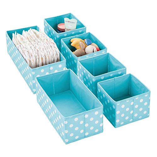 mDesign Soft Fabric Dresser Drawer and Closet Storage Organizer for Kids/Toddler Room, Nursery, Playroom, Bedroom - Herringbone Print - Organizing Bins in 2 Sizes - 6 Pieces - Turquoise/White