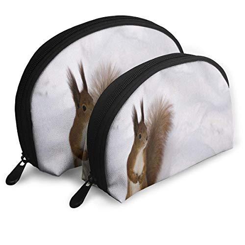 Trousse De Maquillage Neige Écureuils Animaux Mignons Portable Shell Maquillage Cas pour Les Femmes Thanksgiving Day Gift 2 Pack