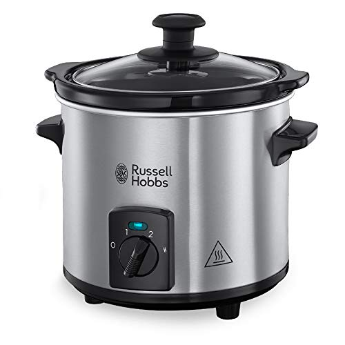 Russell Hobbs Slow Cooker, Schongarer Mini 2,0l, 2 Temperatureinstellungen & Warmhaltefunktion, Keramik Gartopf, kompaktes Design, Compact Home Slowcooker 25570-56