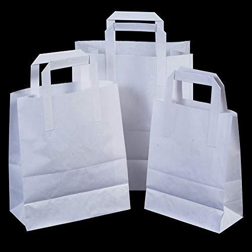 25 x witte SOS Take Away/geschenk papieren draagtassen met platte handgrepen - 25 cm x 30 cm x 14 cm (groot) Unipack Brand - Unibags
