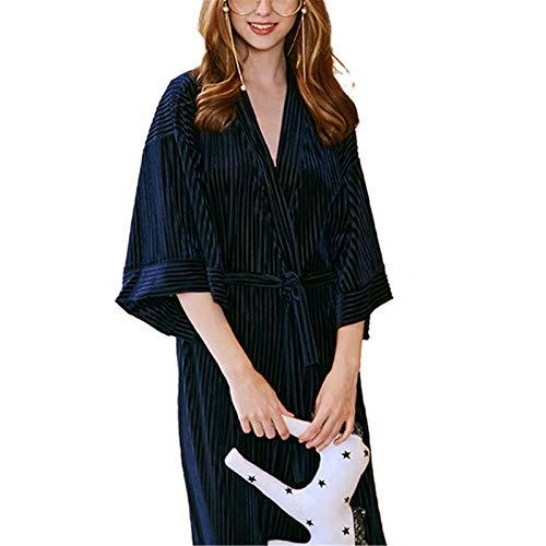 JIAGU Camisón Holgado Homewear Terciopelo cómodo camisón de Las señoras de otoño e Invierno Long Hotel Camisón Albornoz (Color : Blue, Size : One Size)