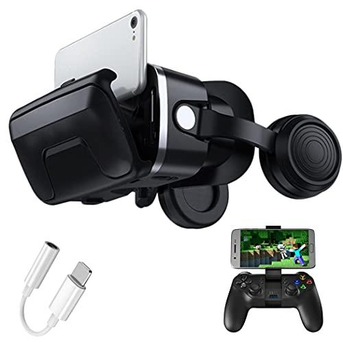 3D Gafas VR, Gafas de Realidad Virtual, Compatible con iPhone y Android para películas y juegos 3D, para iPhone 13/12/11/X/8/7, Samsung S20/S10/Note10, Xiaomi, Huawei, etc.(Color:A)