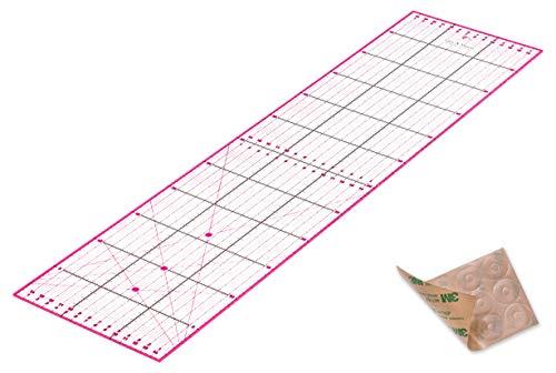 Regla de Patchwork 60 x 15 cm con Pegatinas Antideslizantes Gratuitas. Regla Universal Transparente con dimensiones en cm y ángulos