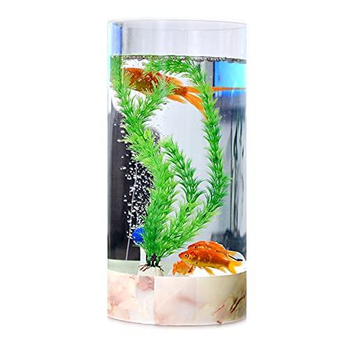 DUTUI Zylindrisches Haushaltslandschafts-Aquarium, Wohnzimmer, Arbeitszimmer, Büro- Und Schlafzimmerdekorationsaquarium, Goldenes Aquarium Ohne Wasserwechsel