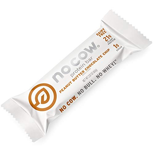 No Cow Vegan Protein Bars Peanut Butter Chocolate Chip 20g Plant Based Protein Lactose Free Low Carb Pea Protein Low Sugar Ketogenic Dairy Free Gluten Free High Fiber NonGMO 12 Pack