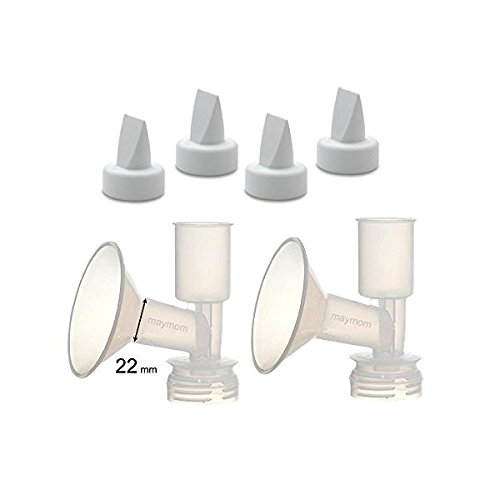 Non-Insert, One-piece Small Flange Kit for Ameda Purely Yours, Ultra Breastpump (Flange 22 mm), with Duckbill; Made by Maymom by Maymom