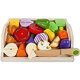 Jessicadaphne Magnetisches Besteck für Kinder Küchenspielzeug Holzmädchen schneidet Obst- und...
