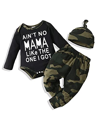 Baby Boy Clothes Newborn Boy Outfits Bodysuit Tops+Camouflage Pants...
