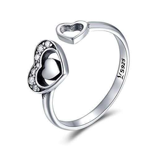 JEWELGIFT - Anello da dito regolabile in argento Sterling 925 con cuore a forma di cuore, per donne e ragazze