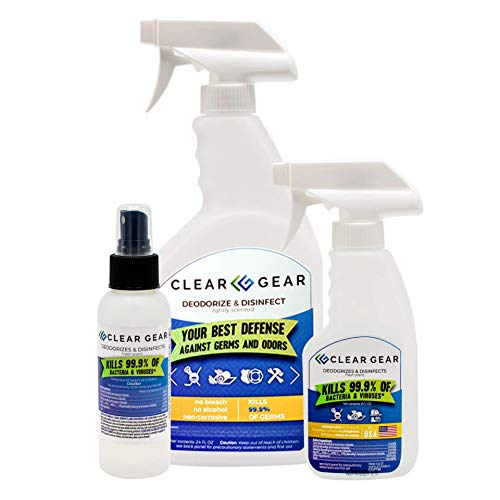 Clear Gear - Disinfectant, Cleaner, and Deodorizer For Sports Equipment, Gyms, and Fitness Centers - Athlete Pack (1 - 24 Ounce Bottle, 1 - 8 Ounce Bottle and 1 - 4 Ounce Bottle) - 5-in-1