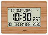 Youshiko Radio Controlled Silent Large LCD Wall Clock (Offical UK Version) Auto Set Up with Day Date Month Helpful for DEMENTIA & ALZHEIMER SUFFERERS (Bamboo Wood)